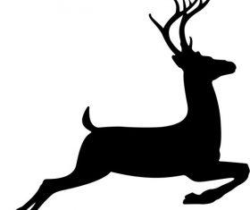 Running deer stencil free vector