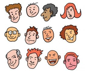 cartoon face many races design vectors