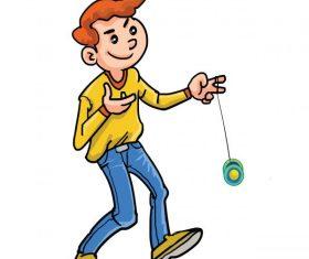 Happy kid play yoyo cartoon vector material