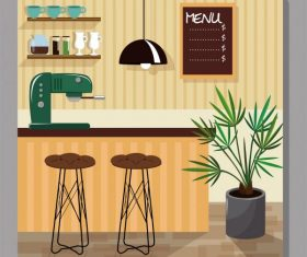 Cofee bar decor template colorful contemporary decor vector set