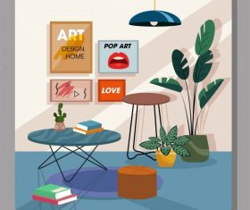 Reading room decor template colorful contemporary vector