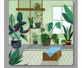 Room decor template houseplant vector