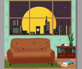 Room decor template sofa bookshelf window vector graphics