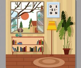 Home decor template colorful vector material