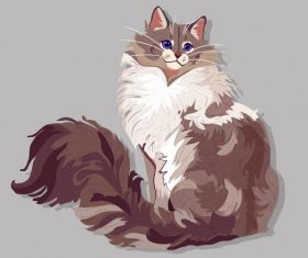 Pet painting furry cat colored handdrawn vector