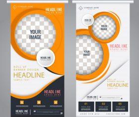 Corporate banner templates bright colorful modern decor vector