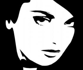 Woman face black and white free vector