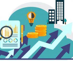 Business elements arrow coin lightbulb chart vector design