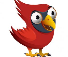 Red whiskered bird funny cartoon character vector
