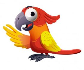 Parrot bird colorful funny cartoon character vector