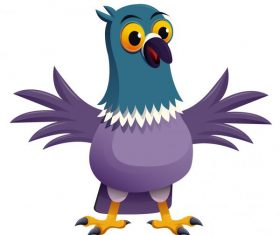 Pigeon bird cute cartoon character vectors