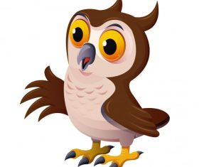 Owl bird colorful cartoon character vector graphics