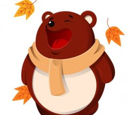 Autumn animal stylized funny bear set vector