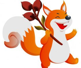 Autumn fox cute cartoon character shiny vector