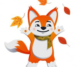 Autumn animal joyful fox leaves vector