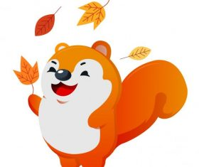 Autumn animal joyful squirrel leaves vector