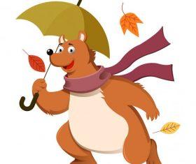 Autumn stylized bear falling leaves cartoon vector