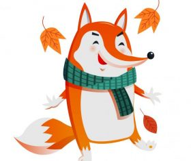 Autumn fox cute stylized cartoon character vector