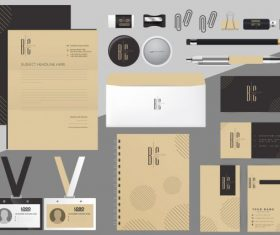 Brand identity sets flat texts decor vector