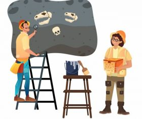 Archaeologist work icons explorer dinosaur fossil cartoon set vector