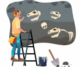 Archaeologist work painting explorer dinosaur fossil vectors material