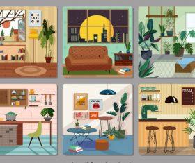 Home furniture decor template colorful cosy vector