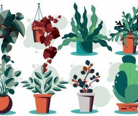 Decorative flowerpot icons colored vector