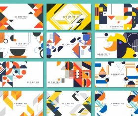 Abstract background templates collection colorful flat geometric decor vectors