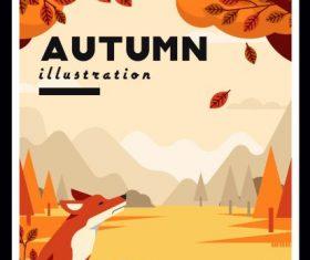 Autumn painting wild scenery fox vector cover