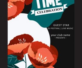 Spring time poster flowers decor dark colored vector design