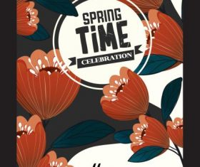 Spring poster templates colored blossom flowers vector