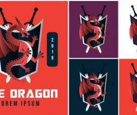 Dragon logotypes western swords shield decor vector