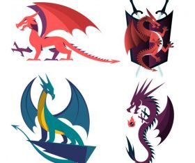 Legendary dragon icons western colored vectors