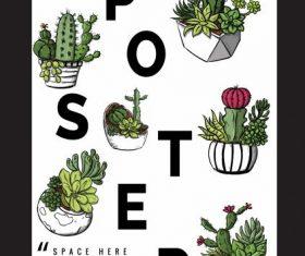 Poster template cactus pots decor classical vectors material