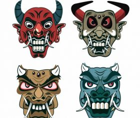 Devil mask horror horned faces vector