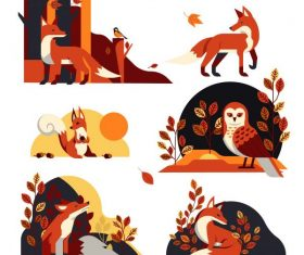 Autumn elements wild fox owl leaves vector