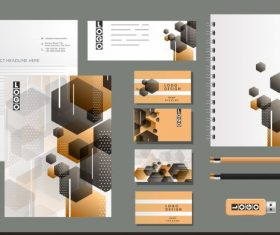 Corporate brand identity sets modern blurred polygonal decor vector