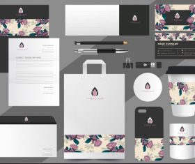 Brand identity sets floral decor vector