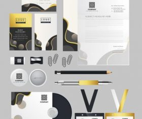 Business brand identity sets modern abstract curves circles set vector