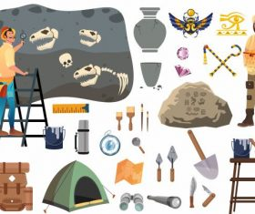 Archaeology elements tools people cartoon set vector