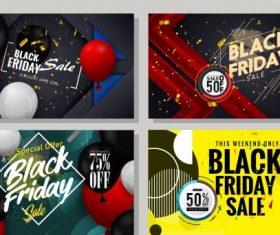 Black friday banner templates modern colorful balloons decor vector