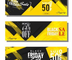 Black friday banners modern black yellow abstract decor vector design