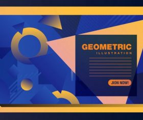 Geometric background template modern colorful flat decor set vector