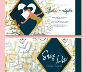 Wedding card template romantic couple elegant flowers decor vector