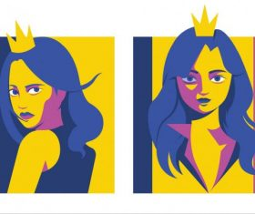 Princess portrait avatar colored cartoon character vector