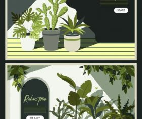 Relax time banners houseplants pots decor classical vector