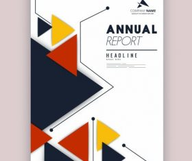 Corporate annual report template colorful triangles decor vector