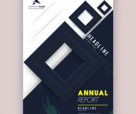 Annual report cover template modern squares decor vector