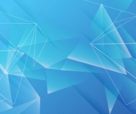 Decorative geometric background modern blue 3d crystals vector set