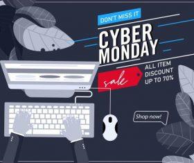 Cyber monday poster dark grey decor ecommerce vector graphics